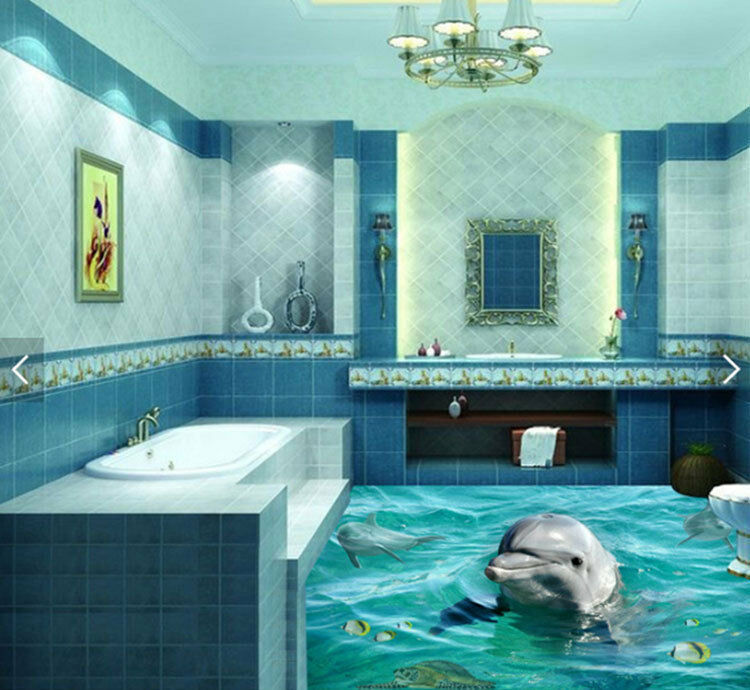 3D Clear Sea Water Dolphin  Floor Mural Photo Flooring Wallpaper Print Home Deca