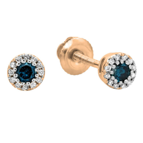 0.20 CT 18K Or Rose Ronde Bleu /& Blanc Diamant Cluster Halo Clous D/'Oreilles