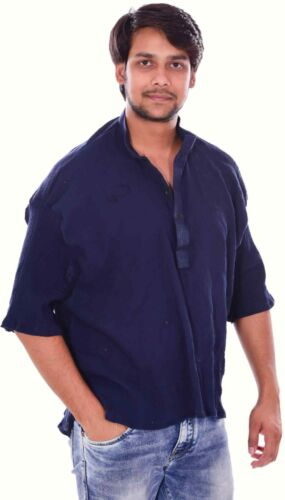 Indian Men's 100/% Cotton short Tunic Kurta Shirt Plus Size Solid Black Color