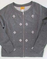 Ruby Rd Rhinestone Accented Zipper Sweatshirt Winter Xmas Gray Grey Size M