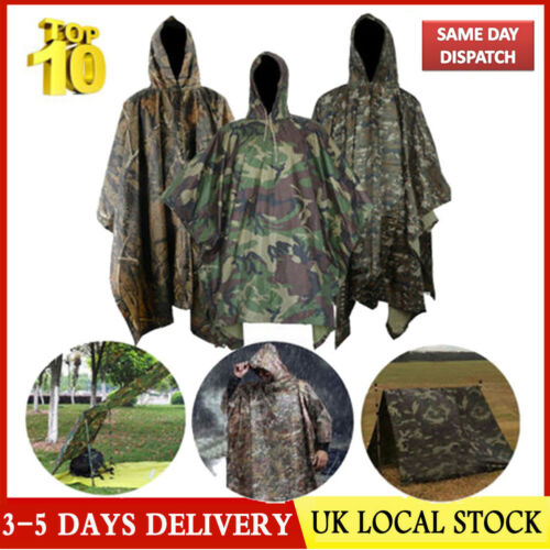 Light-Weight Waterproof Army Hooded Ripstops Rain Poncho Military Camping Hiking