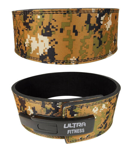 ULTRA FITNESS Weight Lifting Leather Lever Belt Powerlifting Gym Camouflage 10mm