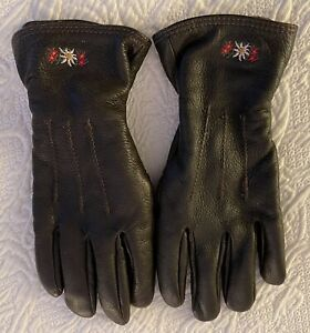 Quality-Women-039-s-Cashmere-Lined-Red-Deerskin-Leather-Gloves-made-in-ITALY-Lg