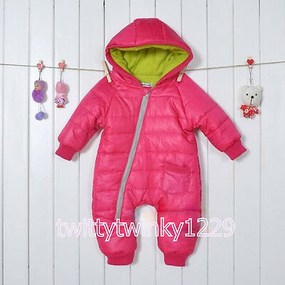 Baby Toddler Super warm Fleece Snow suit Hoodie Romper Outfit Pink Blue 6M- 3yrs