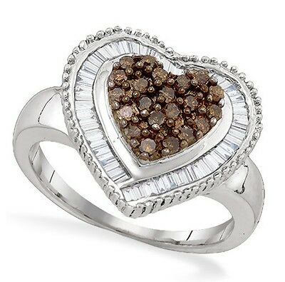 Chocolate Brown Diamond Heart Ring .925 Sterling Silver Diamond Ring .78ct