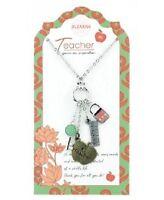 Jilzara Clay Beads Teacher Pendant Necklace Key Lock Ruler Apple Charm