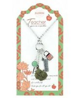 Jilzara Clay Beads Teacher Pendant Necklace Key Lock Ruler Apple Charm