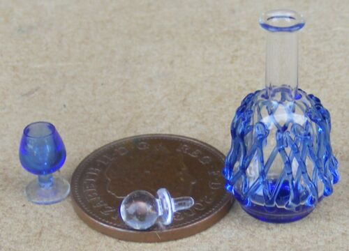 1:12 Scale Blue Patterned Empty Decanter /& Glass Tumdee Dolls House Miniature