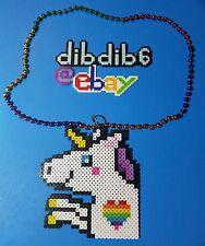 Unicorn perler art necklace rave kandi edm edc sprite hama plur