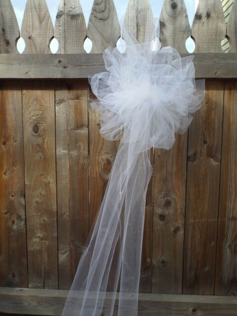 Wedding Bow Tulle White Pom, Set of 12, Tulle Bows, Church Pew, Pew ...