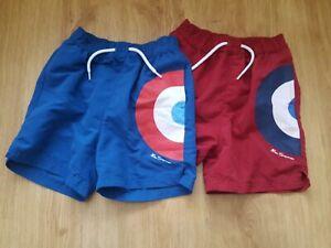 Ben-Sherman-Boys-Shorts-x2-Blue-red-Age-7-8