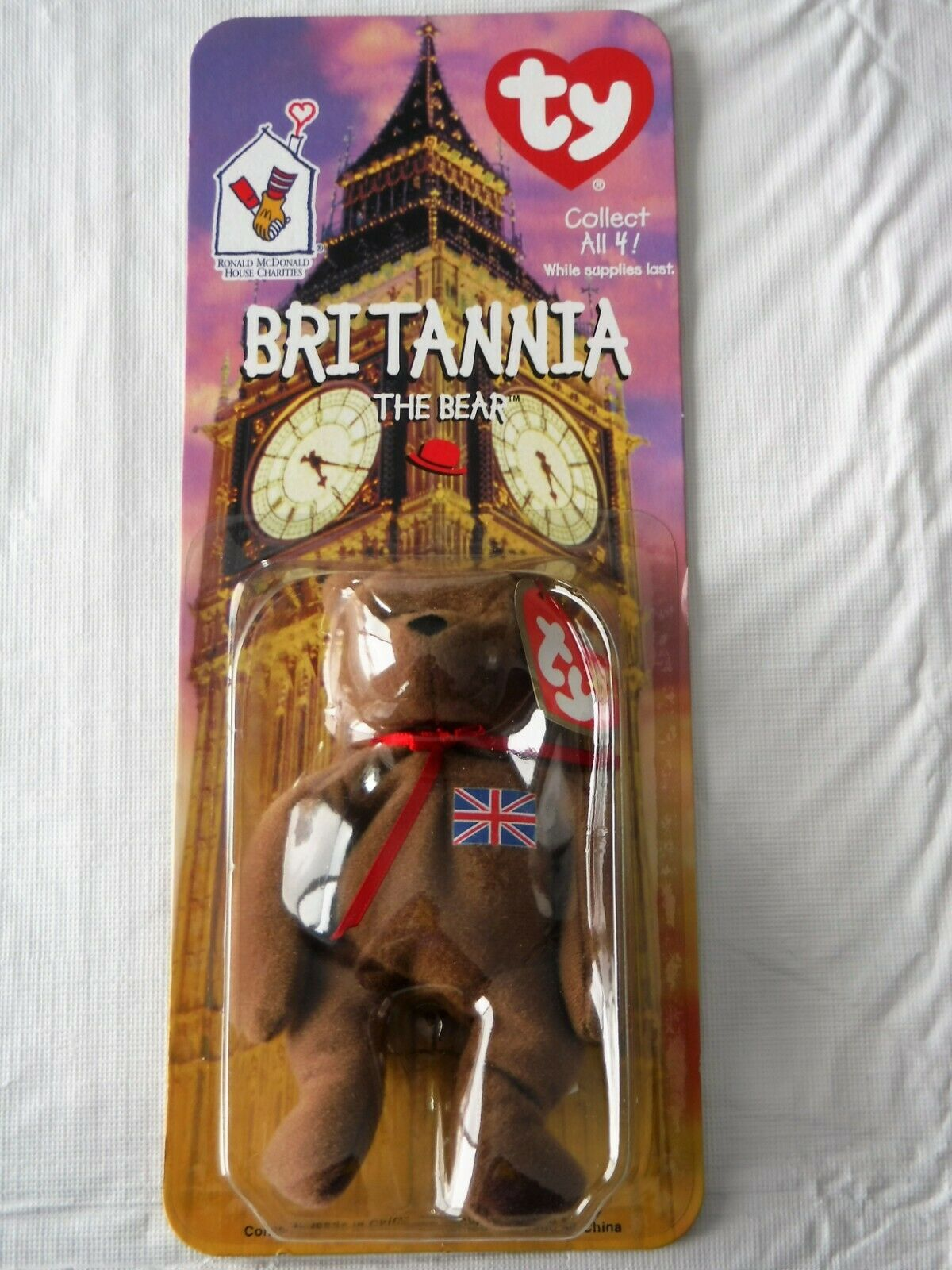 Mcdonald's TY Teenie Beanie Baby Britannia The Bear (Very Rare) New    Must see