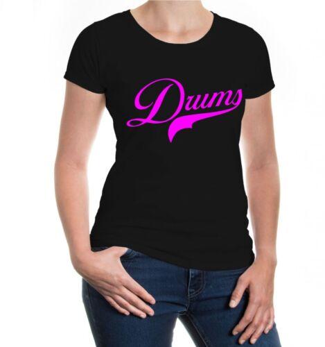 Damen Kurzarm Girlie T-Shirt Drums Logo Schlagzeug Instrument Musik