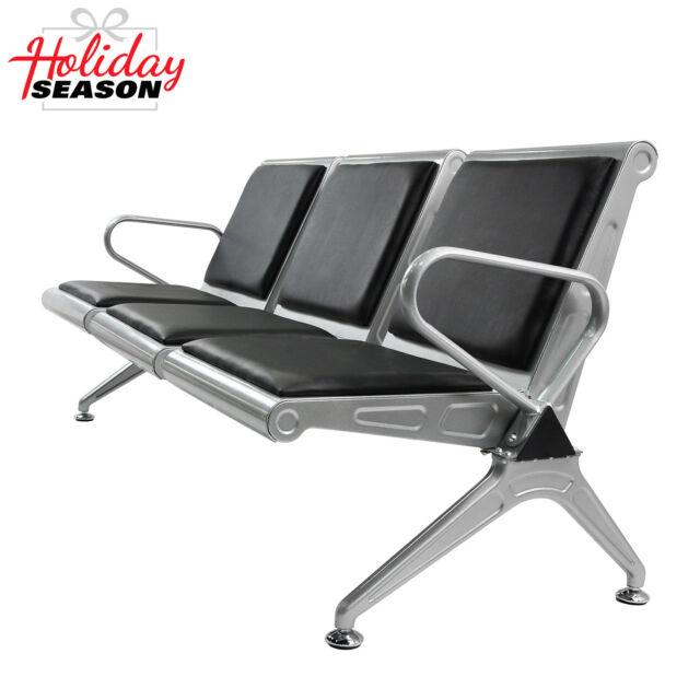 Salon 3 Seat Airport Office Reception Bench Waiting Chair W/Black PVC  Cushion