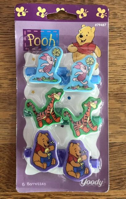 Vtg Goody Winnie Pooh Snap Childs Hair Baby Barrette Set 6 New In Package