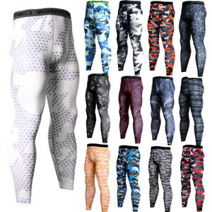 Mens-Compression-Pants-Workout-Sports-Gym-Long-Tights-Spandex-Camo-Print-Dri-fit
