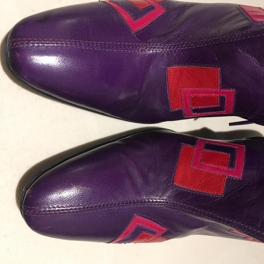 Fendi Purple Purple Purple Leather Platform Ankle Boots SZ 38 7acd48