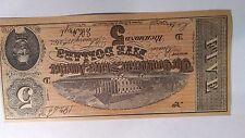 1864 Confederate States $5  FIVE Dollar Bill Civil War Bearer Note facsimile