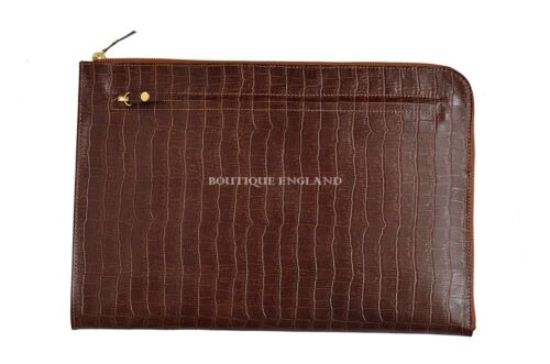 New Deluxe Tan Croc Print Real Leather Under Arm Folder Document Holder Case