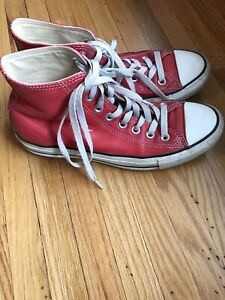 7df70f586e6a2 Details about Vintage Red Leather Converse Chuck Taylor All Star Hi Top Men  Size 6.5 Women 8.5