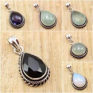 925-Silver-Plated-BLACK-ONYX-amp-Other-Gemstone-HANDMADE-FASHION-Pendant-Jewelry