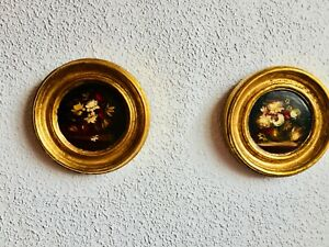 2-7-034-Antique-Round-Floral-Black-Oil-Paintings-Gilt-Gold-Wood-Framed-KPM-Spain