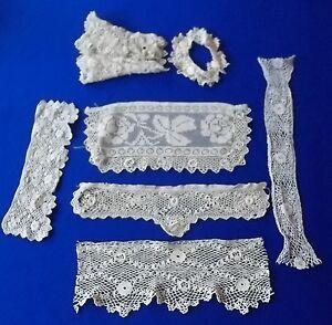 Antique Lot 7 pieces Sleeve Cuff Trim Irish Crochet Lace Bobbin Needle Ireland