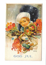 Vintage Swedish Christmas Postcard.Girl with presents.Artelius.