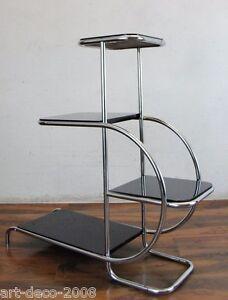 gro stahlrohr chrom freischwinger blumenbank etagere holzregal bauhaus art deco ebay. Black Bedroom Furniture Sets. Home Design Ideas
