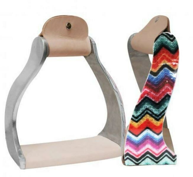 Showman Twisted Angled Aluminum Western  Stirrups w  Shimmering Chevron Print NEW  just for you