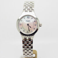 Ladies Rotary Stainless Steel Wrist Watch Stone Set Pink Mother Of Pearl Dial