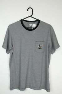 MICKEY MOUSE X UNIQLO T-Shirt - Sz M Black White Stripes Mens Unisex NWT Japan
