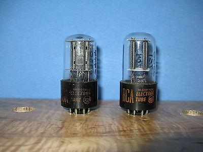Matched Pair RCA 6SN7 6SN7GTB Vacuum Tubes Valves Black Plate Short Base Short Bottle