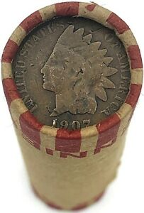 Indian-Head-Penny-on-Rare-Wheat-Cent-Roll-Rare-OLD-US-Coins-Mixed-Dates-Pennies