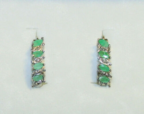 Green Marquise Shaped Emerald Diamond Hoop Earrings 14k White Gold over 925 SS
