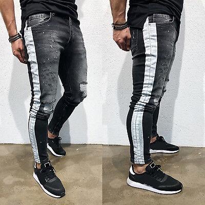 Mens Skinny Jeans Ripped Stretch Slim Fit Denim Biker Distressed Pants Trousers
