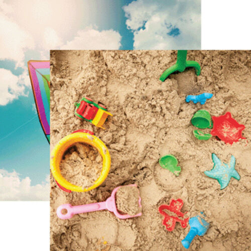 2pcs Reminisce OUTDOOR FUN 12x12 Dbl-Sided Scrapbooking Paper KITE SAND BUCKET