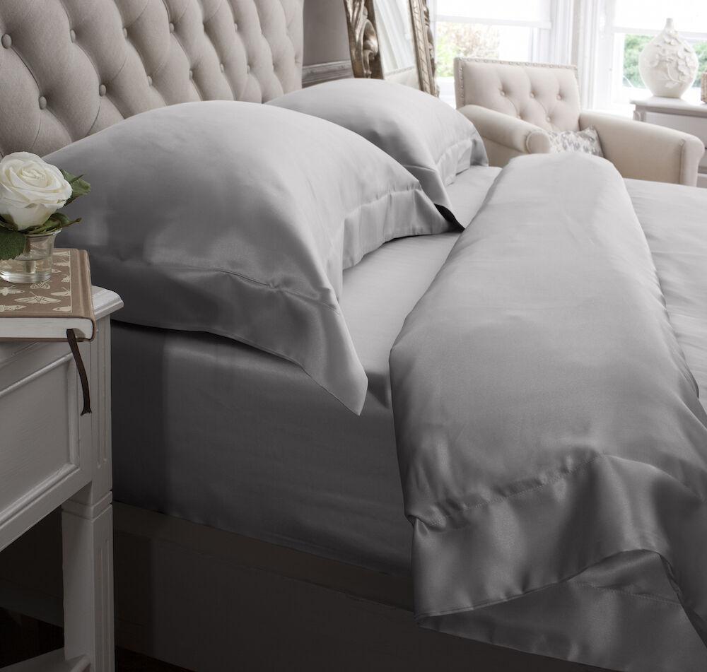 Jasmine Silk 4 Teile 100% Charmeuse Seide Bettbezug Set grau - King | Verschiedene Arten Und Die Styles