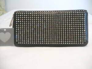 RHINESTONE-BLING-FRONT-BACK-CLUTCH-WALLET-BLACK-STUNNING-GORGEOUS-GIFT-NWT