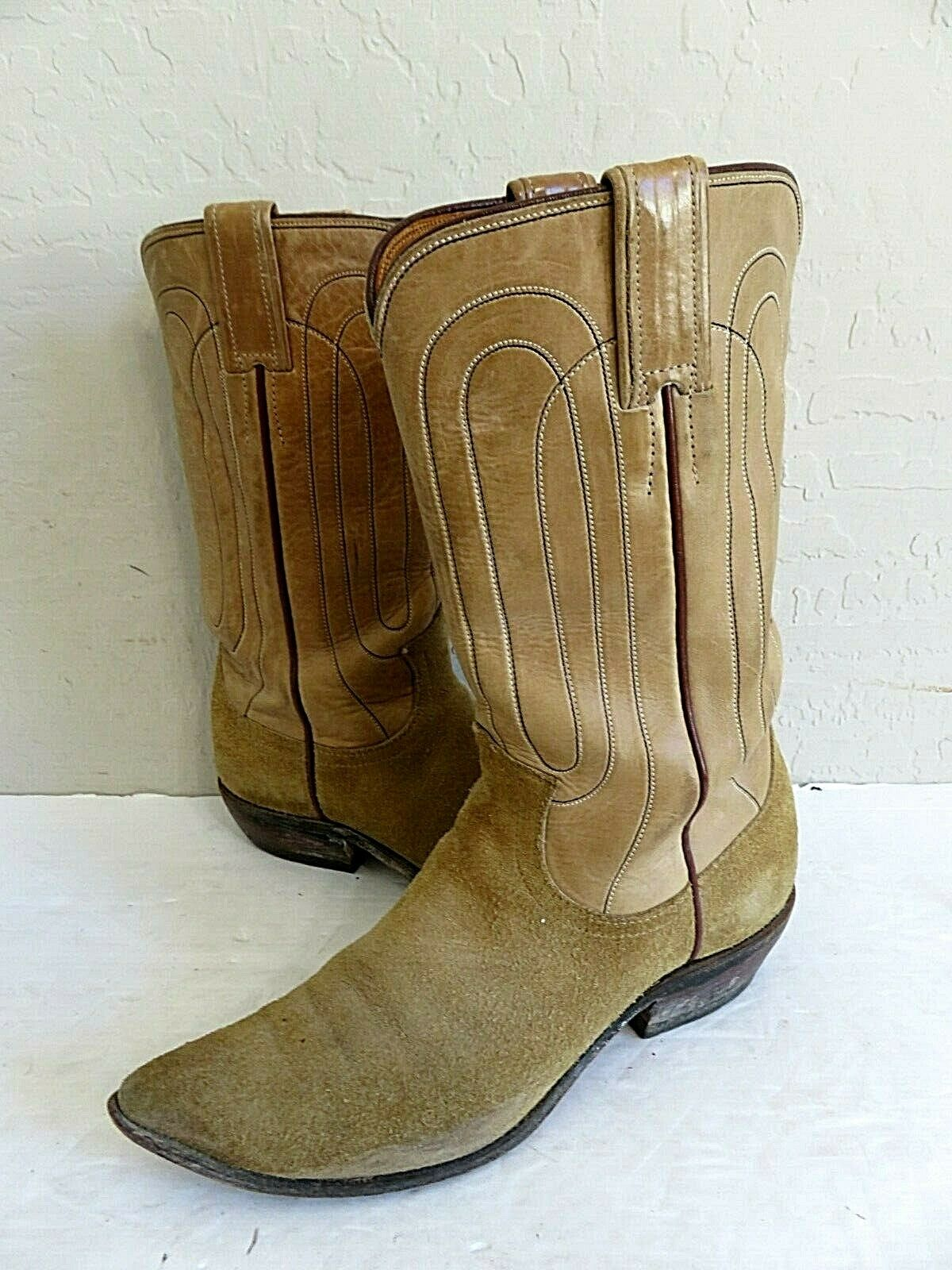 Justin Cowboy Boots Beige Suede Leather Leather Womens 6.5A