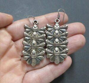 Long-Vintage-Sterling-Insect-Butterfly-Bee-Bumblebee-Dragonfly-Dangle-Earrings