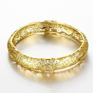 Women-039-s-7-034-Flower-Pave-14K-Gold-Bangle-Bracelet-Gift-Box-with-Crystals-ITALY