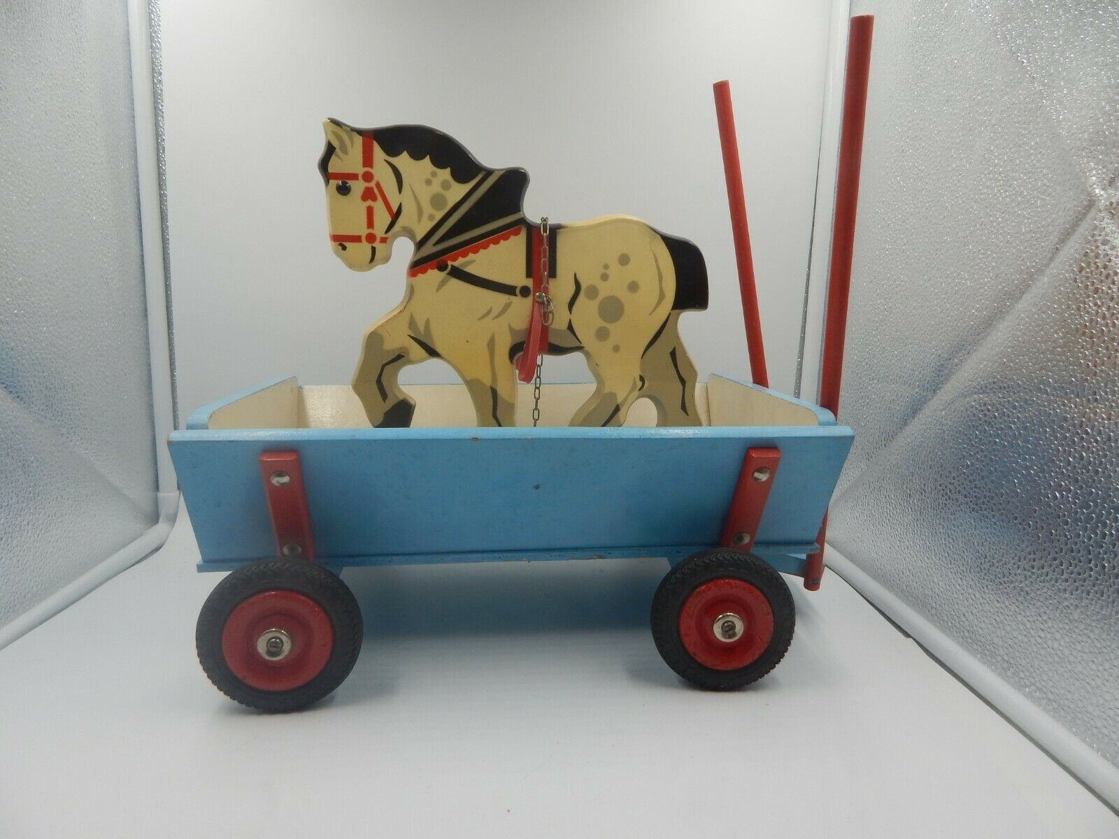 Vintage Wooden Horse and Wagon   Cart Toy Western Germany