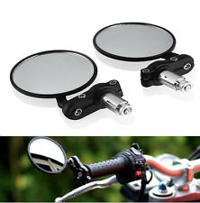 "Black Motorcycle 3""Round 7/8""Handle Bar End Rearview Mirrors For Honda Harley"