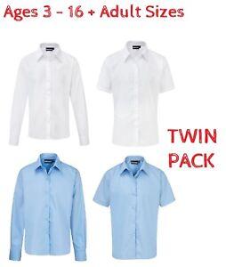 Im-Doppelpack-Madchen-Schule-BLUSE-Hemd-Weis-Blau-Lang-Kurzarmelig-Alter-3