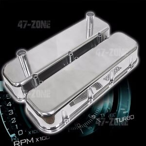 POLISHED-ALUMINUM-TALLV-RACING-VALVE-COVERS-SMOOTH-FOR-65-95-CHEVY-BB-396-502