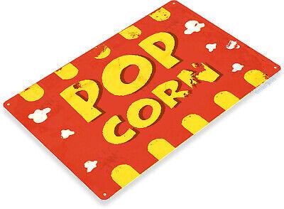 TIN SIGN B898 Popcorn Machine White Pop Corn Machine Movie Theater Metal Decor
