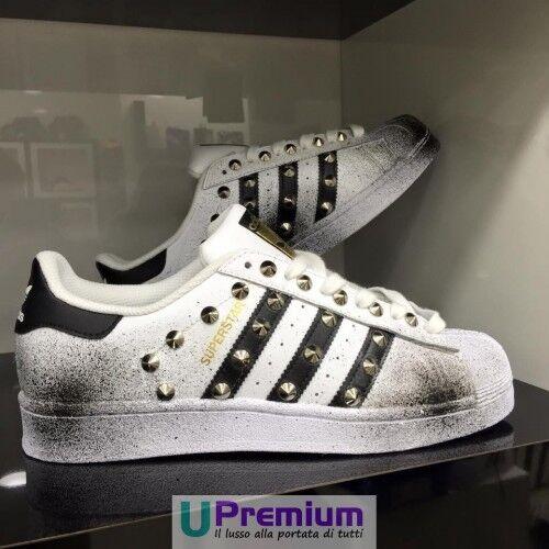 Adidas Superstar Borchiate Sfumate Nero ORIG Plus [Prodotto Customizzato] Scarpe ORIG Nero cf2ef2