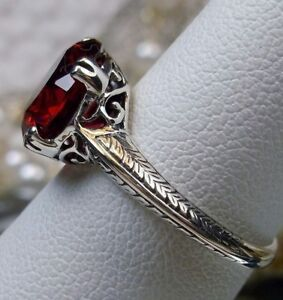 3ct-Red-Ruby-Sterling-Silver-Art-Deco-1930s-Filigree-Ring-Size-Made-To-Order