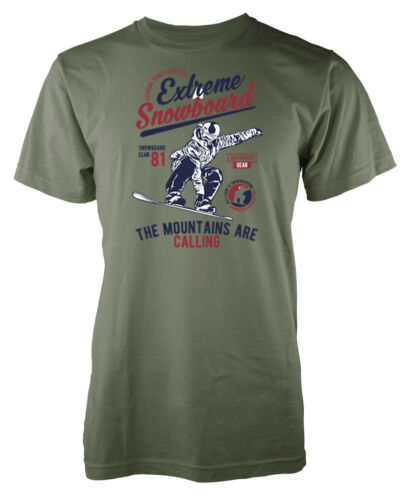 Snowboard Extreme The Mountains Are Calling Adult T Shirt